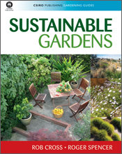 The cover image of Sustainable Gardens, featuring a garden courtyard with