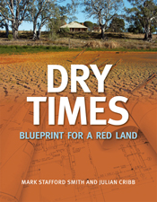 The cover image of Dry Times, featuring a blue print coloured a dark earth