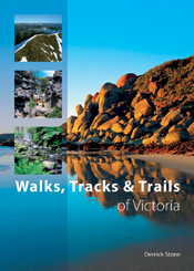 The cover image of Walks, Tracks and Trails of Victoria, featuring a rocky