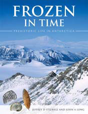 The cover image of Frozen in Time, featuring a panoramic view of snow capp
