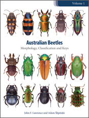 The cover image of Australian Beetles Volume 1, featuring ten beetles of v