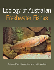 The cover image of Ecology of Australian Freshwater Fishes, featuring an o