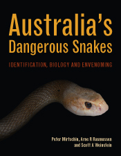 Cover of Australia's Dangerous Snakes featuring a close-up of the head of