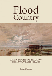 The cover image of Flood Country, featuring a vista of a cloudy sky reflec