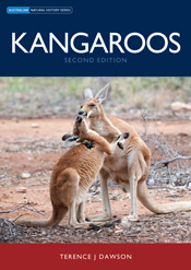 The cover image of Kangaroos, features two red and beige kangaroos that lo