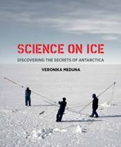Cover features three people dressed all in black on white ice with a pale