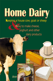 Cover is a cow and different cheeses on a plain dark green background.