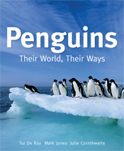 The cover image of Penguins, featuring a photograph of a group of black an