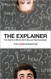 Cover image of The Explainer, featuring the tops of two male heads, at the