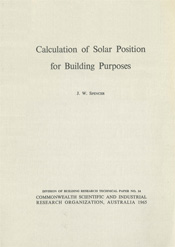 cover of Calculation of Solar Position for Building Purposes