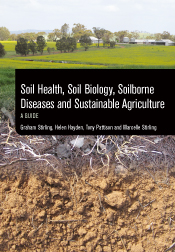 Cover featuring a gradient of three images: crops, roots and soil.