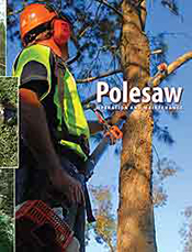 Cover image is a man in high visibility safety gear using a pole saw on a