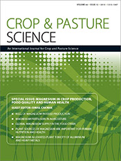 Stylised green wheat crop graphic with white text containing journal conte