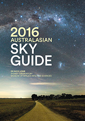 Cover features photo of the sky with green title.