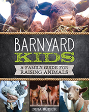 Images of various barnyard animals, including cows, a chicken, pigs and a