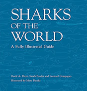 Blue cover with light blue outlines of various types of sharks