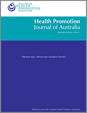 Cover of Health Promotion Journal of Australia, special issue on Advance E