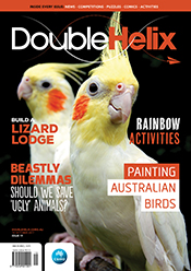 Cover of magazine with two birds and texts.