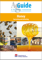 Multiple images relating to bees and honey on a white background.