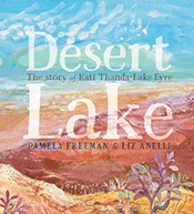 Illustration of a desert lake in drought.