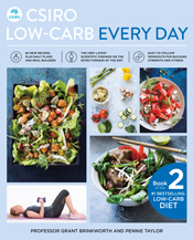 Cover with multiple images of food and people doing exercise.
