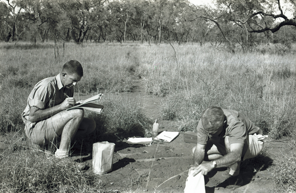 Soil sampling on the plateau, north of Ronlow Park Queensland, Nogoa–Belyando Survey 1964