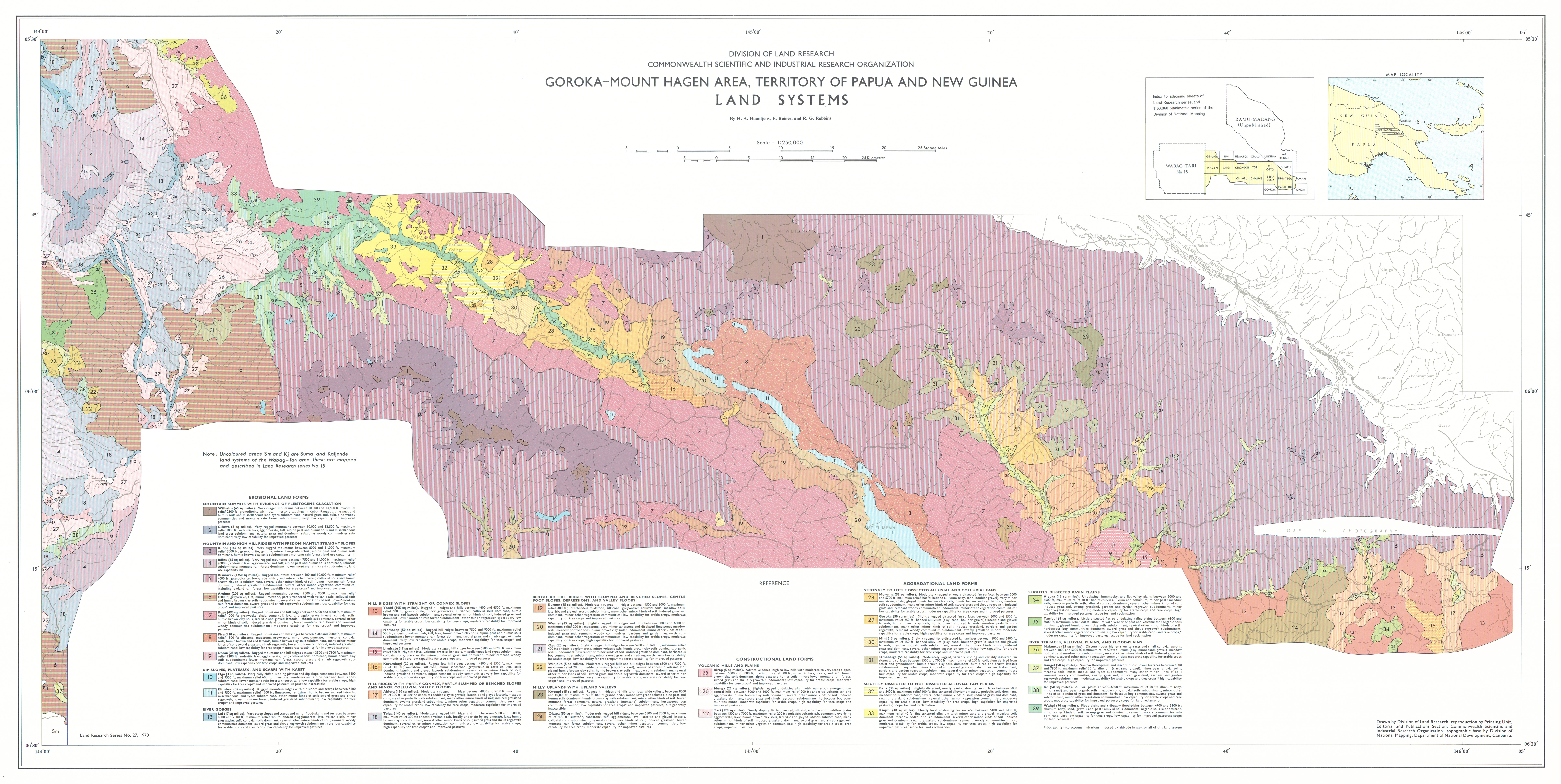 Csiro publishing csiro land research surveys map 1 land systems of the gorokamount hagen area territory of papua and new guinea by ha haantjens e reiner and rg robbins scale 1250000 sciox Image collections