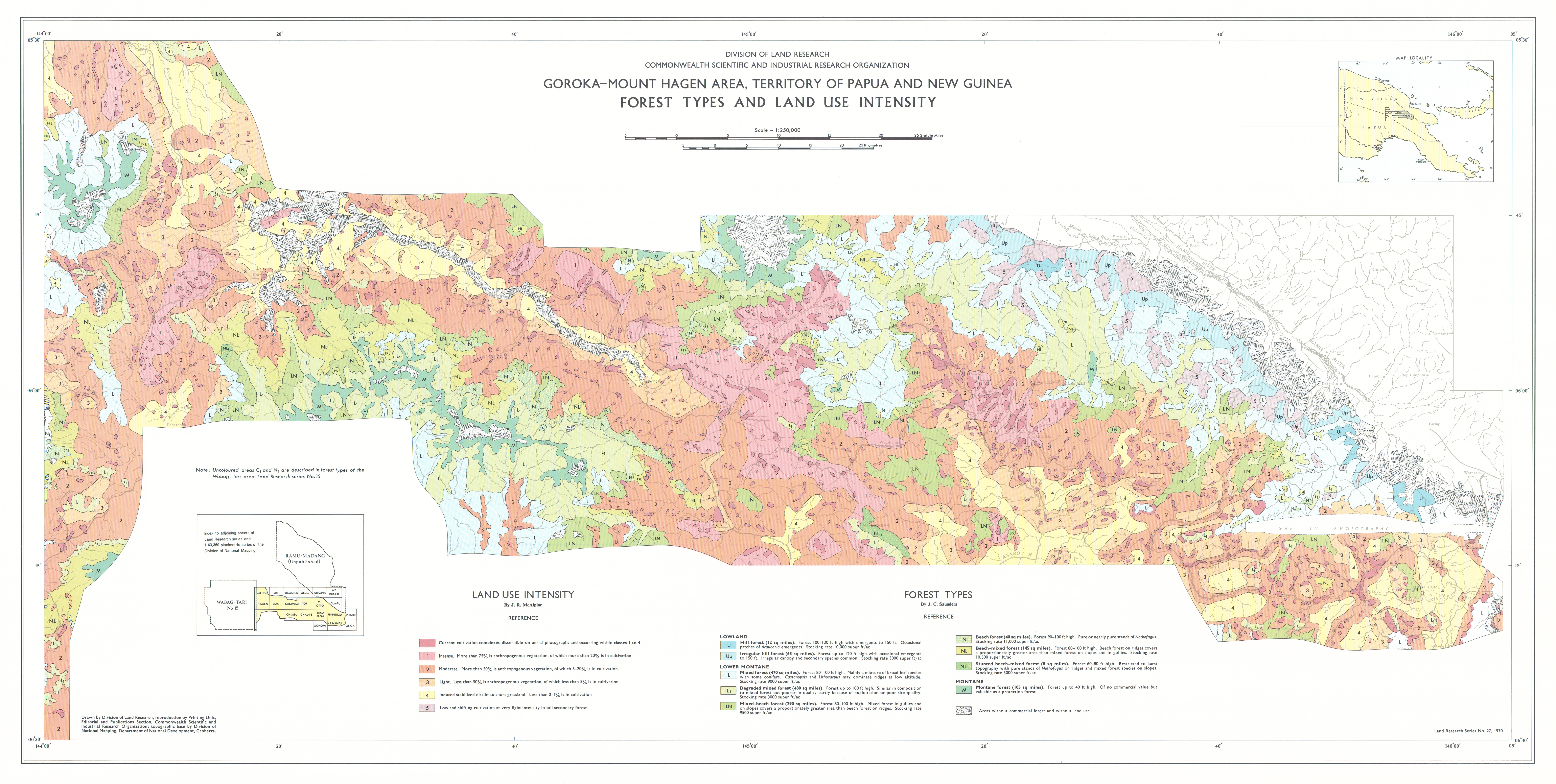 Csiro publishing csiro land research surveys map 2 forest types and land use intensity of the gorokamount hagen area territory of papua and new guinea by jc saunders and jr mcalpine sciox Image collections